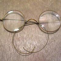 ビンテージ~1910's●サイドマウントラウンド眼鏡●201115n5-eygls 1890s1990sアンティークヴィクトリアン丸メガネ