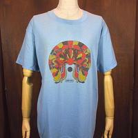 ビンテージ70's●Peter MaxプリントTシャツ水色sizeL●200831n4-m-tsh-ot古着ピーターマックスヒッピー半袖シャツ