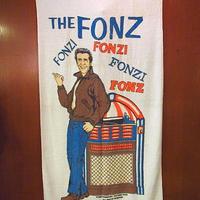 ビンテージ70's●franco THE FONZタオル●200712s7-otclct古着雑貨バスタオルラグ生地フォンジーキャラクター