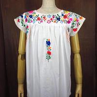 ビンテージ70's●メキシコ刺繍半袖ブラウス白●200804n3-w-sssh 1970sレディースメキシカン半袖シャツ花刺繍ヒッピー