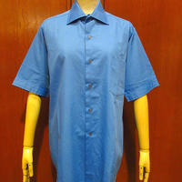 ビンテージ70's●VAN HEUSEN半袖ドレスシャツ青14 2●210529f2-m-sssh-hpeトップスメンズUSAヴァンヒューゼン