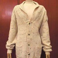 ビンテージ70's●ネップ織りウールショールカラーカーディガン●201017s3-m-cdg古着メンズニットセーターケーブル編みUSAレトロ長袖