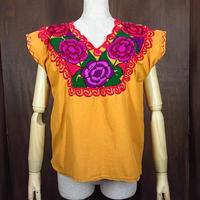 ビンテージ70's●レディース花刺繍ノースリーブコットンブラウス黄●200629n2-w-tktp 1970sメキシコメキシカンヒッピー