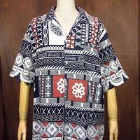 ビンテージ70's●コットン総柄半袖オープンカラーシャツ●200613n4-m-sssh-ot 開襟シャツメンズトップス古着