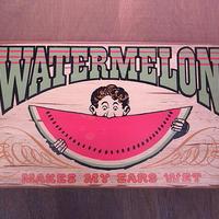 """ビンテージ60's●YORKRAFT """"WATERMELON""""アメリカンウッドサイン●201220n7-sign 1960s壁掛け看板木製スイカ"""