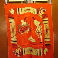 ビンテージ50's★メキシカンプリントスカーフ 約67.5cm×約58cm★200525s8-scf 1950sメキシコ製赤