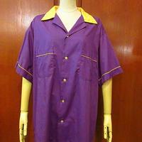 ビンテージ●HILTON バックプリントボウリングシャツ紫×黄 Size XL●200707f3-m-sssh-bw ツートーン開襟シャツ古着
