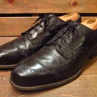 ビンテージ40's50's●Uチップシューズ黒●210223n9-m-dshs-265cm 1940s1950sメダリオン革靴ドレスシューズメンズ