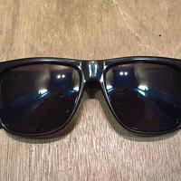 ビンテージ80's●ウェリントンサングラス黒●201020n8-eygls 1980s黒縁無地シンプル