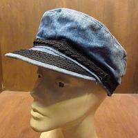 ビンテージ70's●デニムフィッシャーマンキャップL●210228n4-m-cp-ot 1970sメンズレトロ帽子