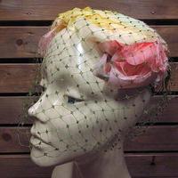 ビンテージ40's50's●レディースヴェール付きフラワーヘッドドレス●200703n2-w-hd古着帽子女性用USA雑貨キャップ