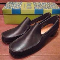 ビンテージ60's70's●DEAD STOCKレディースレザーローファー黒●210512s12-w-lf-235cm 1960s1970sデッドストック靴