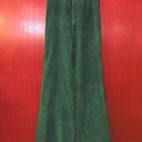ビンテージ70's●Levi'sレディースコーデュロイフレアパンツ緑W63cm●200913s3-w-pnt-ot-W25古着ヒッピーグリーン女性用ブーツカット