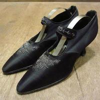 ビンテージ~20's●ビーズ飾り付きシルクストラップパンプス黒●210523n4-w-pmp-23cm 1910s1920sレディース靴ヴィクトリアン