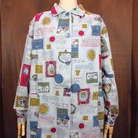 ビンテージ70's●コットン総柄パジャマシャツ●200909n2-w-lssh USAレディース長袖古着