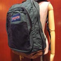 JANSPORTボトムレザーナイロンバックパック緑●201215s3-bag-bpリュックサックジャンスポーツアウトドアUSA鞄かばんグリーン