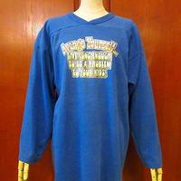 ビンテージ70's●RUSSELL メッセージプリントフットボールTシャツ青 Size L●200623f4-m-lstsh ラッセル長袖トップス古着