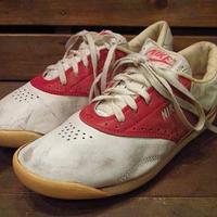 ビンテージ80's●NIKEレザーシューズ白×赤Size7●210622i12-w-snk-235cm 1980sナイキレディーススニーカー