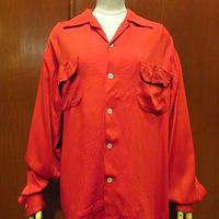 ビンテージ50's●長袖ループカラーシャツ赤size L●210126s2-m-lssh-lp古着開襟シャツロカビリーUSAオープンカラーシャツメンズ