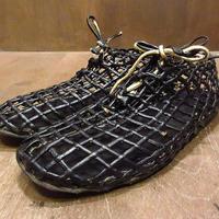 ビンテージ70's●レザーメッシュシューズ黒7D●210615n3-m-oshs-25cm 1970sメンズ編み込み夏用サマーオックスフォード革靴