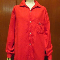 ビンテージ50's60's●B.V.D.トナカイワンポイント刺繍フランネルループカラーシャツ赤size M●201214f2-m-lssh-nl古着開襟シャツ
