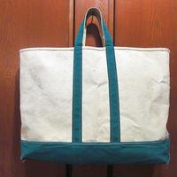 ビンテージ80's●L.L.Bean耳付きキャンバストートバッグ緑×白size L●210424s1-bag-ttビーントートハンドバッグアウトドアエルエルビーン