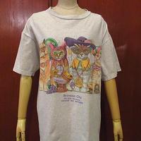 ビンテージ90's●PRINTS OF TAILS CIRQUE DU MONDEキャット両面プリントTシャツ霜降りグレーsize L●201025f9-m-tsh-ot古着猫