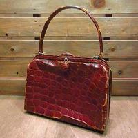 ビンテージ40's50's●エキゾチックレザーハンドバッグ赤茶●200713n4-bag-hnd 1940s1950sレディース爬虫類革鞄