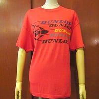 ビンテージ80's●DUNLOPプリントTシャツ赤●200623s3-m-tsh-otダンロップタイヤUSAメンズトップス半袖古着