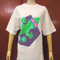 ビンテージ80's●GECKOプリントTシャツ白size L●200622s2-m-tsh-otゲッコーヤモリホワイト古着半袖コットンUSA