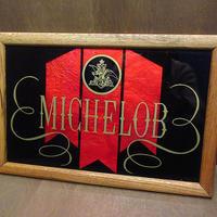 ビンテージ●MICHELOBウッドフレームサイン●210325n4-signミケロブビール壁掛けインテリアディスプレイ鏡雑貨