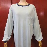 ビンテージ70's●Munsingwearリブボーダー長袖ポケットTシャツ水色sizeXL●200606f5-m-lstsh古着ロンTロングスリーブUSAポケT