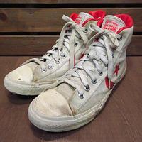 ビンテージ80's●CONVERSE ALL STARキャンバスバスケットボールシューズ生成り×赤size 9●201204n6-m-snk-27cmコンバースオールスター