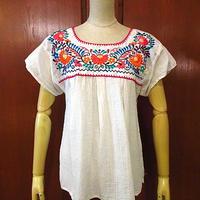 ビンテージ70's●レディースメキシコ刺繍半袖ブラウス白●200826s1-w-sssh 1970sメキシカン花刺繍レトロシャツ