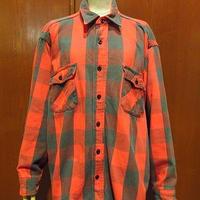 ビンテージ70's80's●チェックヘビーネルシャツ赤×グレー●201218f3-m-lssh-nl古着ブロックチェックバッファローチェック長袖シャツ