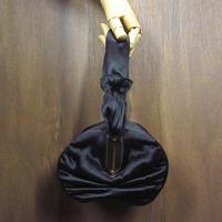ビンテージ40's50's●JEMCOサテンハンドバッグ黒●210601n6-bag-hnd 1940s1950sシルクレディースパーティイブニング