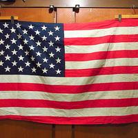 ビンテージ60's70's●50星アメリカ星条旗 87cm×141cm●210122s8-sign コットン国旗フラッグバナーインテリアディスプレイ雑貨