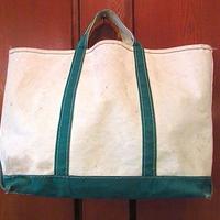 ビンテージ80's●L.L.Beanキャンバストートバッグ緑×白sizeL●200615f1-bag-ttエルエルビーンハンドバッグ古着ビーントートUSA