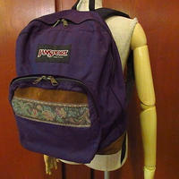 MADE IN U.S.A. JANSPORTボトムレザーナイロンバックパック紫●200910f9-bag-bpリュックサックジャンスポーツアウトドアUSA製