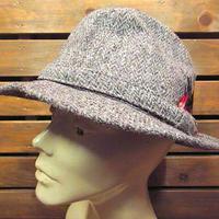 ビンテージ80's●Harris Tweedツイードフェドラハットsize L●200904n6-m-ht-fltハリスツイードウール古着メンズ帽子スコットランド製