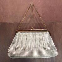 ビンテージ40's●WHITING DAVIS CO. メタルメッシュハンドバッグ白×金●200721n5-bag-hnd 1940sパーティバッグレディース鞄