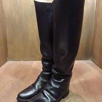 ビンテージ70's80's●レディースライディングブーツ黒8●201103n6-w-bt-25cm 1970s1980s乗馬ロングレザー