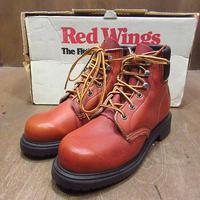 ビンテージ90's●DEADSTOCK RED WINGレディースプリント羽根タグプレーントゥワークブーツ茶5 1/2 B●210330n2-w-bt-23cm 1990s