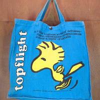 ビンテージ70's●ウッドストックコットントートバッグ青●200912n7-bag-tt ピーナッツスヌーピーキャラクターカバン