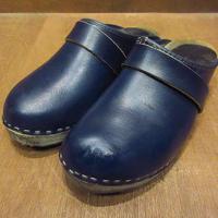 ビンテージ●レディースレザーサボ紺size 5●210430n5-w-sdl-23cmサンダルフィンランド製古靴革女性用ネイビーブルー