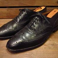 ビンテージ70's●FLORSHEIMウィングチップシューズ黒11B●210223n11-m-dshs-29cm 1970sフローシャイム革靴フルブローグドレスシューズ