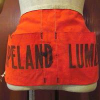 ビンテージ-60's●COPELAND LUMBERキャンバスワークエプロン橙●200616s5-aprコットンオレンジ古着作業着USA