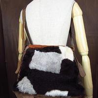 ビンテージ70's●パッチワークレザー×フェイクファーショルダーバッグ●201018n3-bag-shd 1970sスウェードヌバック鞄ヒッピー