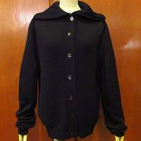 ビンテージ~70's●レディース襟付きカーディガン黒●201025f5-w-cdg古着ニットブラックトップスジャケット長袖シャツ