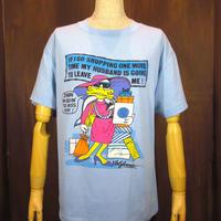 ビンテージ80's●ダックプリントTシャツ水色size L●201127n2-m-tsh-otアヒルショッピング古着メンズトップスUSA製半袖